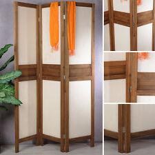 3fach Paravent Holz Raumteiler Trennwand in Braun Sichtschutz Umkleide Stellwand