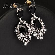 Vintage Earrings For Women Black Crystal Water Drop Earrings Antique Silver 2017