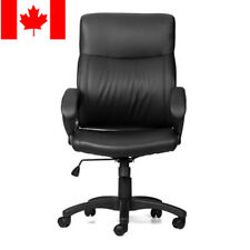 Moustache® High-Back Leather Swivel Office Executive Chair with Armrest, Black