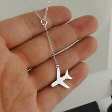 Airplane Y Necklace - 925 Sterling Silver - Jet Plane Travel Wanderlust Lariat