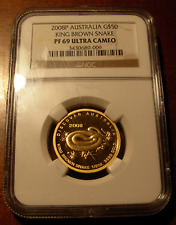 Australien 2008P Gold 1/2 oz $50 NGC PF69UC König Braun Schlange Prägung - 1000