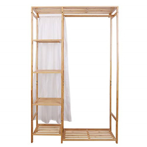Medla Open Wardrobe Coat Stands:Bamboo Garment Rack with Shelves Clothing Rail x