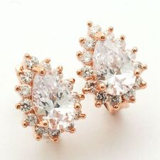 White Cz w/Accents Mini Hoop Earrings New Rose Gold Plated Pear Shape Clear