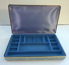 """vTg. Collectible """"MELE"""" Jewelry Holder box (light blue outer) Flower Vintage"""
