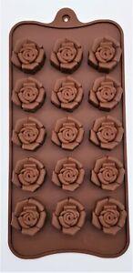 1 x Pralinenform Silikon Rose braun  Schokolade Fontant  Muffin Backen  NEU 15 x