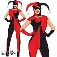 Ladies Harlequin Medieval Catsuit Jester Halloween Fancy Dress Costume Outfit