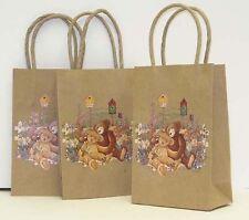 """4-1/2""""x7""""x2-1/2"""" Teddy Bear Embossed Brown Heavy Duty Kraft Paper Gift Bags - 29"""