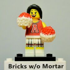 New Genuine LEGO Red Cheerleader Minifig with Pom Pons Series 8 8833
