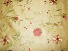 Drapery Fabric Embroidered Floral Faux Silk Shantung Gold tan beige 1 yd