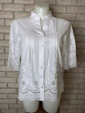Vintage 1990s Lauren Michelle White Cotton Embroidered Eyelet Blouse Size Large