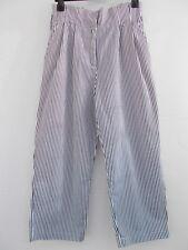ZARA Black White Stripe Paperbag Waist Cropped Culotte Trousers Size S 10-12 VGC