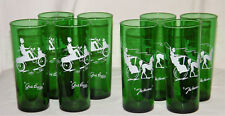"Full Set (8) Vintage Anchor Hocking ""GAY 90's"" FOREST GREEN Glass TUMBLERS"