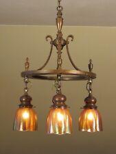 ELEGANT! Antique Arts and Crafts Light Fixture Iridescent Shades Quezal Steuben