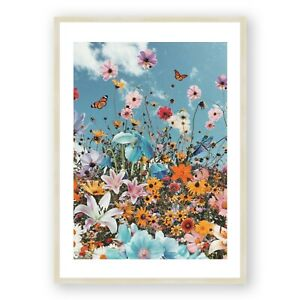 Flowers Framed Print , Colorful Wall Art , Happy Inspiring Room Decor