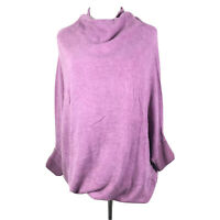 Moth Anthropologie Sz S Short Sleeve Turtleneck Sweater Purple Long Oversized