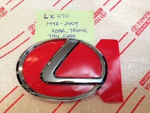 *NEW LEXUS LX470 REAR TAILGATE DOOR CHROME TRUNK EMBLEM 1998-2007 OEM GENUINE