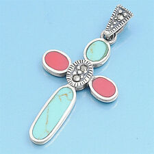 Cross with Marcasite Pendant Sterling Silver 925 Jewelry Carnelian / Turquoise