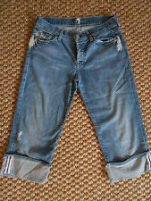 7 FOR ALL MANKIND cropped BOYCUT capri JEANS DESTROYED SIZE 29X19 LoWaist31 EUC