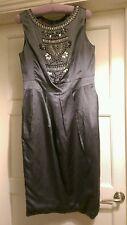 monsoon grey silk beaded dress 10