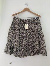 Ladies Skirt Edeis 14 Brown Floral BNWT Knee Casual <JS1425