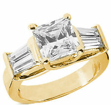 3 carat total Princess Cut Diamond Engagement Ring w 4 baguettes 14K Yellow Gold
