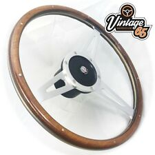 "Austin Mini 15"" Classic Wood Rim Steering Wheel Fitting Boss Badged Horn Upgrade"