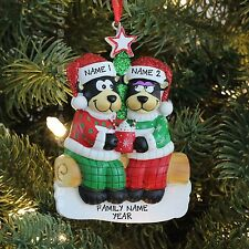 Black Bear Family with Hot Chocolate Couple Personalized Christmas Tree Ornament