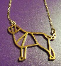 Saint St BERNARD Newfoundland Dog Geometric Necklace Pendant ~ Rose Gold Tone
