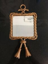 Vintage Homco Home Interiors Twisted Rope Beveled Hanging Tassel Mirror