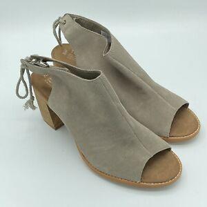 Toms Women's Elba Desert Taupe Suede Peep Toe Block Sandals Size 12