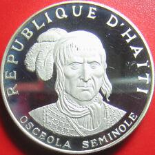 1971 HAITI 10 GOURDES 1.5oz SILVER PROOF INDIAN SEMINOLE CHIEF OSCEOLA CROWN 40m
