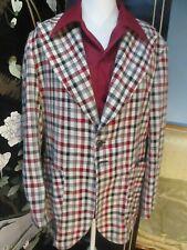 Vtg 42 Reg 1970s Red Plaid Mens Suit Jacket Peak lapel Funky Disco w Arrow Shirt