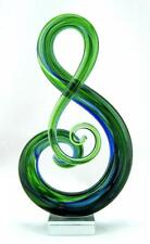 """New 11"""" Hand Blown Art Glass Fused Sculpture Music Treble Clef Note Green Blue"""