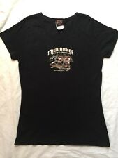 Harley Davidson Womens 110th Anniversary T Shirt Short Sleeve V Neck size Large