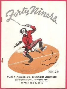 9/1/1946 SF 49ers vs. Chicago Rockets Program 2nd Pre-Season Game Ever-Excellent