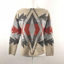 Lauren Ralph Lauren XS Sweater Cotton Lambswool Aztec Southwest Neturals Cropped