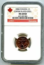 2004 CANADA CENT NGC MS68 RD MAGNETIC COPPER PLATED STEEL SUPER TOP GRADE=3