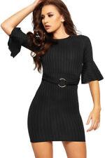 Unifarbene Gürtel Langarm Damenkleider