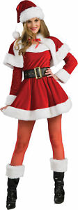 Santa's Helper Adult Womens Costume Mrs Claus Christmas Red Dress Halloween