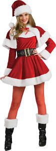 Santa's Helper Adult Womens Costume Mrs Claus Christmas Red Dress Halloween