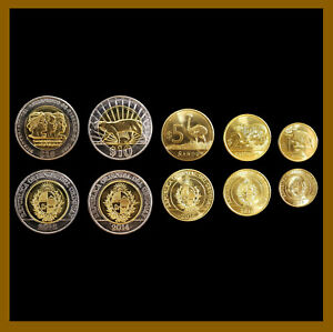 Uruguay 1 2 5 10 Pesos (5 Coins Set), 2012-2015 Commemorative Jaguar Bimetallic