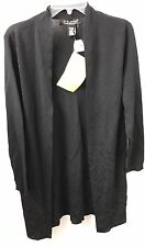 Dialogue M Cardigan Sweater Viscose Rayon Black NWT Knit Open Front Long Sleeve