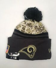 NEW ERA Los Angeles Rams Salute To Service Pom Sport Knit Beanie Gray Green cfa2a97ee800
