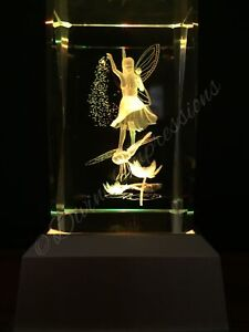 Fairy Dragonfly 3D Laser Crystal Block LED Colour Change Base Night Light