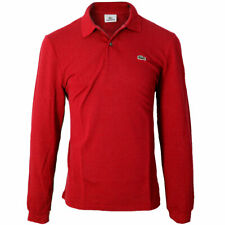Lacoste Mens Classic Cotton Long Sleeve L1312 Ribbed Collar Soft Polo Shirt