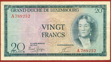 Luxembourg ( 1955 - 1957 ) 20 Francs - World paper money banknotes currency.