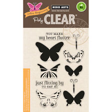 Layering Butterflies Poly Clear Acrylic Stamp Set by Hero Arts CL867 NEW!