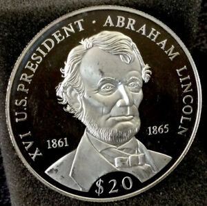 """Large World Silver Coin - Unc. 2000 Liberia 20 Dollars """"Lincoln"""" Proof #327"""