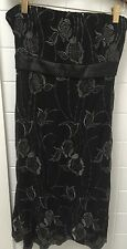 CKM Size M Black Sequin Strapless Stretch Cocktail Formal Party Dress EUC