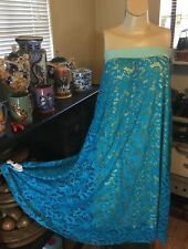 LuLaRoe Lucy Skirt,Teal Floral Lace,Yellow Lining,Women's XXS,Rare Pattern,HTF!